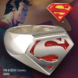 Superman - Sterling Signet Ring rot emailiert